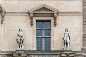 Pediment above a window of the Louvre, supported by a pair of corbels