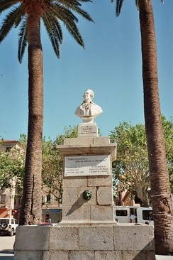 Monument to Pasquale Paoli, the Corsican hero who made Italian the official language of his Corsican Republic in 1755