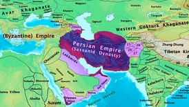 The Sasanian Empire and its neighbors (including the Eastern Roman Empire) in 600 AD
