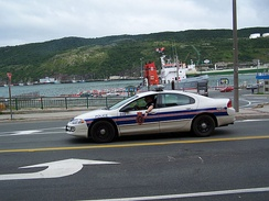 A Royal Newfoundland Constabulary (RNC) police car on patrol. The RNC serves as the primary policing body for the metropolitan area.