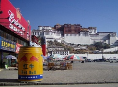 In front of the Potala Palace, Tibet: a model of Red Bull in Chinese version is displayed.