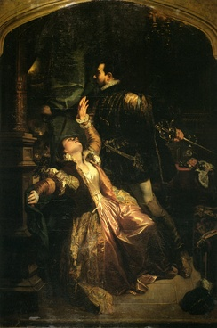 Painting of the Act 4 Raoul/ Valentine duet by Camille Roqueplan