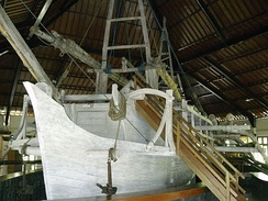 Full size replica of Borobudur ship of the 8th century AD. This one had gone to expedition to Ghana in 2003–2004, reenacting the Srivijayan and Medang navigation and exploration.