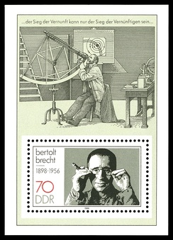 Stamp from the former East Germany depicting Brecht and a scene from his Life of Galileo