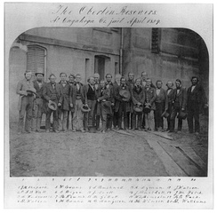 John Langston (number 12) with the Oberlin–Wellington rescuers, in front of the Cuyahoga County jail