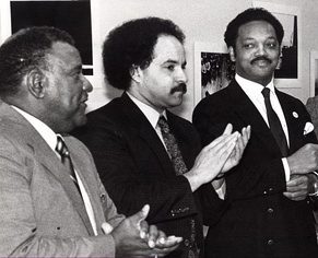 "Jesse Jackson (right) with Curt Anderson (center) and Decatur ""Bucky"" Trotter (left) during a Maryland Legislative Black Caucus meeting in Annapolis, Maryland (1988)"