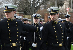 Coast Guard cadets wearing Full Dress Blue (B) uniforms