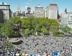 The park and surrounding neighborhood of Union Square, located between 14th and 17th Streets, may be considered a part of either Lower or Midtown Manhattan.