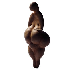 A replica of the Gravettian Venus of Lespugue. The Gravettians produced a large number of Venus figurines