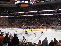 The Flyers play at the Wells Fargo Center