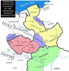 Territory under the control of the Přemyslid dynasty around 1301