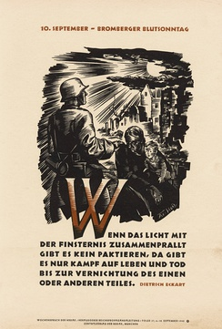 "Wochenspruch der NSDAP of 6 September 1942 quotes Eckart: ""If the light clashes with darkness there is no making of agreements, there is only a fight of life and death until the one or the other part is destroyed."""