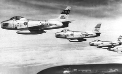 121st FIS 4-ship F-86H formation, 1960.