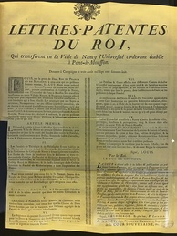 Letters patent transferring a predecessor of the University of Lorraine to Nancy in 1768