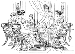 An idealized classicized depiction of an English Regency domestic scene