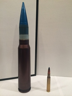30x173mm round next to a .30-06 Springfield for comparison
