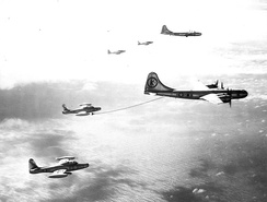 43d Air Refueling Squadron KB-29M Superfortresses refueling 48th Fighter Wing F-84G Thunderjets over the Philippines, 1953.