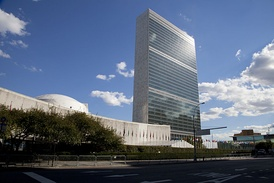 The United Nations Secretariat building at the United Nations Headquarters