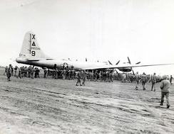 B-29 Dinah Might (1st BS / 9th BG), first to land on Iwo Jima, 4 March 1945