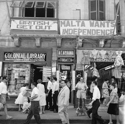 Malta Labour Party club in Valletta with anti-British and pro-Independence signs in the late 1950s
