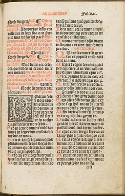 One of the first pages of the psalter in a service book used for the canonical hours before the Reformation, showing the beginning of Matins on Sunday. Shown is the direction to sing Venite and Psalms 1 and 2.