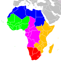 Regions of Africa:   North Africa   West Africa   Central Africa   East Africa   Southern Africa