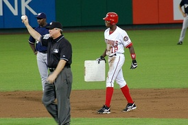 Alfonso Soriano joins the 40–40 club by stealing his 40th base against the Milwaukee Brewers at RFK Stadium, September 16, 2006.