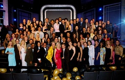 In 2002, dancers and other cast members from the 32-year run of American Bandstand reunited with host Dick Clark to celebrate the 50th anniversary of the show's local television debut.