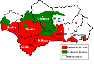 "Most Spanish dialects in Spain differentiate between the sound of ""z"" and ""c"" (before e and i), pronounced /θ/, and that of ""s"", pronounced /s/. This distinction is lost in many Andalusian-speaking areas. In some mostly southerly areas, shown here in red, all three letters are pronounced /θ/, which is known as Ceceo. In other areas, all three letters are pronounced (/s/), which is known as Seseo. Still other areas retain the distinction found elsewhere in Spain. Note that the city of Cádiz has seseo."
