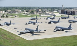 Several KC-135R Stratotankers on the apron at McConnell AFB during 2013.