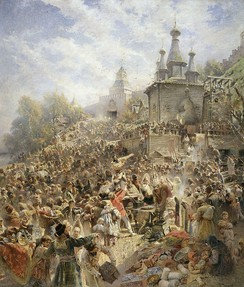 Kuzma Minin appeals to the people of Nizhny Novgorod to raise a volunteer army against the Poles (painting by Konstantin Makovsky, 1896).