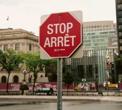 Bilingual (English/French) stop sign on Parliament Hill in Ottawa. [8]