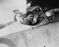 Billy Bishop sitting in his Nieuport 23 with the machine gun (just visible at the top of the picture) mounted to fire over the propeller.
