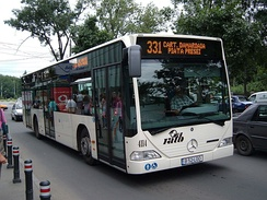 A public bus owned and operated by Bucharest's RATB