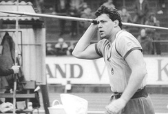 "Uwe Hohn (pictured in 1984) holds the ""eternal world record"" with a throw of 104.80 m as a new type of javelin was implemented in 1986."