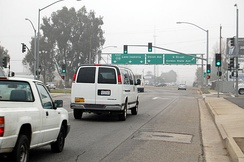 California State Route 178 at M Street near downtown Bakersfield on a foggy day