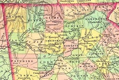 1834 map of counties created from Cherokee land