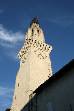 The leaning bell tower of the Church of the Augustinians.