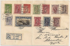 Multi-franked registered mail from Crete using Greek stamps during the Union with Greece to Egypt in 1914 showing numbered registration label