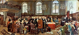 This image shows the painting Débat sur les langues lors de la première Assemblée législative du Bas-Canada le 21 janvier 1793 (Debate on languages during the first Legislative Assembly of Lower Canada, January 21, 1793), by Charles Huot.