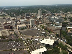 An aerial photo of Downtown South Bend