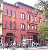 Freie Bibliothek und Lesehalle (Free Library and Reading Hall) and Deutsches Dispensary (German Dispensary), both by William Schickel (1883–1884) on Second Avenue at St Mark's Place in the East Village