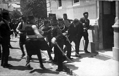 This picture is usually associated with the arrest of Gavrilo Princip, although some[31][32] believe it depicts Ferdinand Behr, a bystander.
