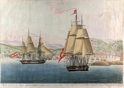 A coloured engraving representing Austria and Augusta, the two ships that took Leopoldina to Brazil, departing from Trieste