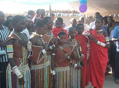 Gogo tribe ladies from Manyoni Tanzania waiting to perform traditional dance during the ceremony of priest Joseph Makasi ordination