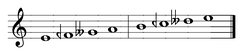 Two Greek tetrachords in the enharmonic genus, forming an enharmonic Dorian scale