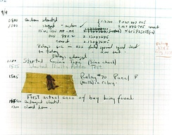 The actual first computer bug, a moth found trapped on a relay of the Harvard Mark II computer