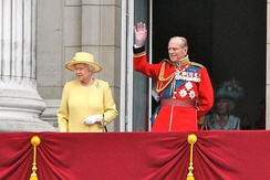 The Queen and the Duke of Edinburgh on the balcony of Buckingham Palace, June 2012