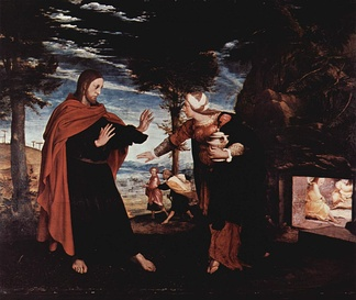 Hans Holbein the Younger's Noli me tangere a relatively rare Protestant oil painting of Christ from the Reformation period. It is small, and generally naturalistic in style, avoiding iconic elements like the halo, which is barely discernible.