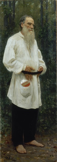 Tolstoy dressed in peasant clothing, by Ilya Repin (1901)